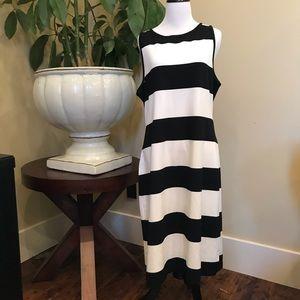 BB Dakota Black & White Striped Tank Dress